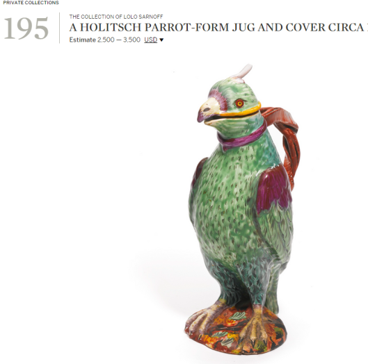 A Holitsch parrot-form jug and cover ca. 1760.