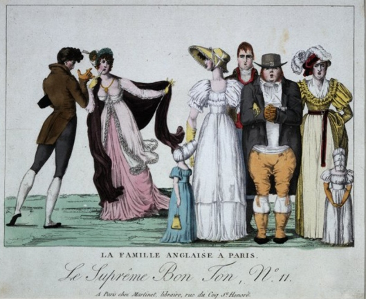 La famille Anglaise à Paris.Plate 11 to 'London und Paris', x, 1802 [1803]. Explanatory text, pp. 90-5. Copy of No. 11 in 'Le Suprême Bon Ton' series, see BMSat 9957. An English John Bull stands stolidly full face with clasped hands, a grown daughter on his right arm, his wife on his left arm. With them are two tiny little girls and a grown-up son, also stolid. A Frenchman and a lady attitudinize elegantly on the left. 1802 Hand-coloured etching. British Museum  1856,0712.605