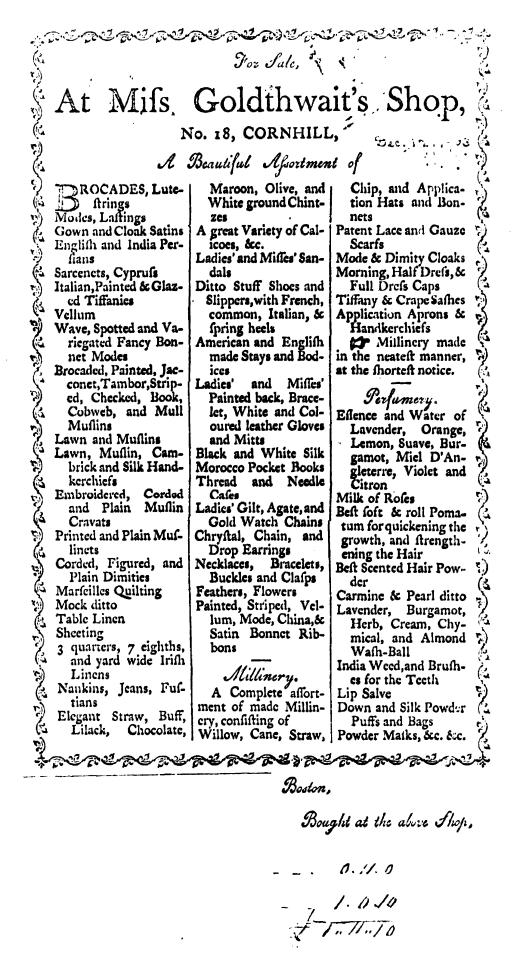 1782 Broadside. Early American Imprints, Series 1, no. 45771  (filmed)