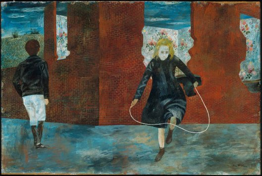 Girl Skipping Rope. Tempera on board by Ben Shahn, 1943. MFA Boston,  1971.702