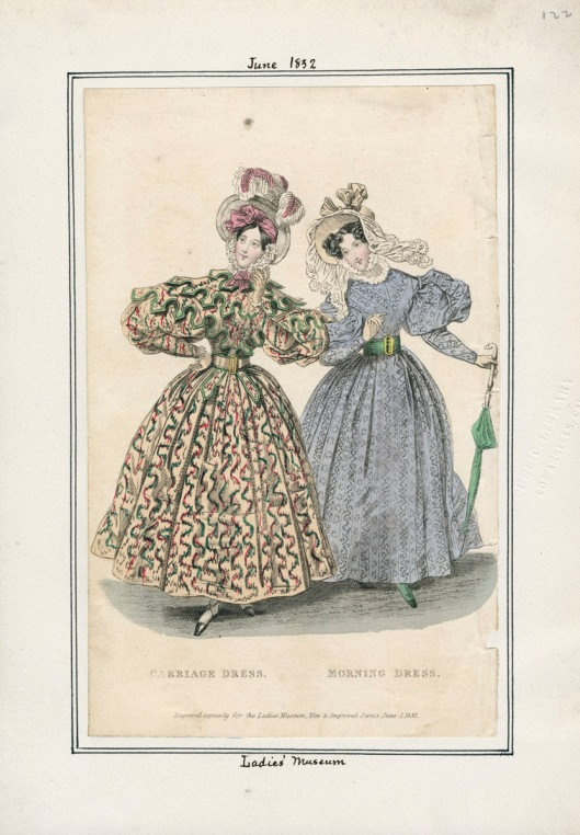 Carriage and Morning Dress, 1832. LAPL Fashion Plate Collection