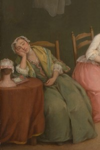 Detail, The Letter. Pietro Longhi, 1746. Metropolitan Museum of Art, 14.32.1