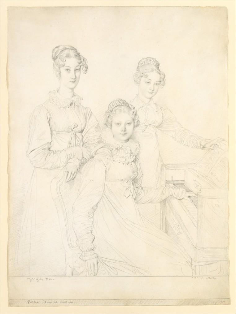 The Kaunitz Sisters (Leopoldine, Caroline, and Ferdinandine), graphite on laid paper by Jean Auguste Dominique Ingres, 1818. Metropolitan Museum of Art, 1998.21