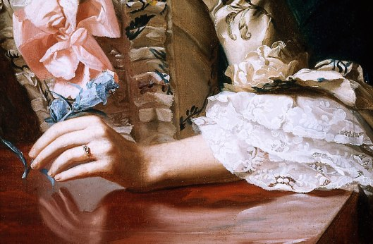 Detail, Mrs Richard Skinner, oil on canvas by John Singleton Copley, 1772. MFA Boston, 06.2428