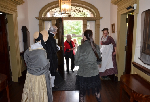 Visitors in the front hall of the John Brown House, Providence RI