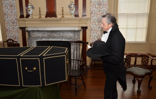 Historical minister and coffin