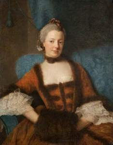 """Henrietta Diana, Dowager Countess of Stafford"", Allan Ramsay, 1759; Glasgow Museums 3026 (c) Glasgow Museums; Supplied by The Public Catalogue Foundation"