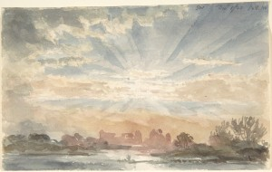 Landscape with Rising Sun, December 1, 1828, 8:30 a.m. Artist: Joseph Michael Gandy (British, London 1771–1843 London) Date: 1828 Medium: Watercolor over graphite on white wove paper Dimensions: sheet: 4 3/16 x 6 3/4 in. (10.6 x 17.1 cm) Classification: Drawings Credit Line: Harry G. Sperling Fund, 2005 Accession Number: 2006.46