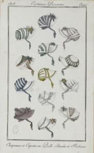 Costume Parisien 1808 Chapeaux et Capotes en Paille Blanche et Rubans