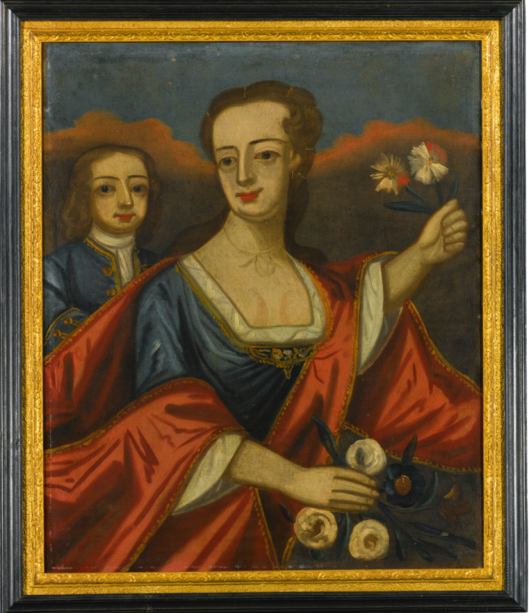 Attributed to J. Cooper 1685 - 1754 WOMAN WITH YOUNG BOY Appears to retains its original frame attributed to J. Cooper. oil on canvas 30 in. by 25 in. CIRCA 1715. Sotheby's Sale N09466, Lot 398