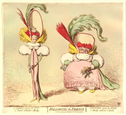 Following the Fashion. Hand colored etching by James Gillray, published by Hannah Humphrey, 1794. British Museum 1851,0901.706
