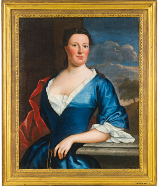 Robert Feke (1707 - 1752) PORTRAIT OF MRS. TENCH FRANCIS In what appears to be the original frame; Bears a label on the back of the frame: Mr. Willing, Bryn Mawr. Painted circa 1746. Label on the back of the stretcher: Philadelphia Museum of Art, Robert Feke, Portrait of Mrs. Tench Francis, 11-1969-2. Lender: Mr. E. Shippen Willing, Jr. Oil on canvas 36 by 28 1/2 in. Sotheby's Sale N09456 Lot 1595