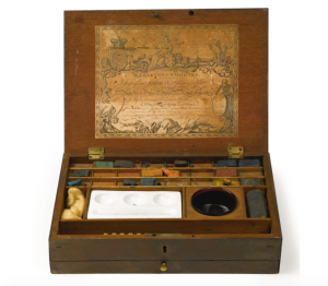 Lot 738, Sotheby's Sale N09466 REGENCY MAHOGANY PAINT BOX BY W. REEVES & WOODYER, FIRST QUARTER 19TH CENTURY