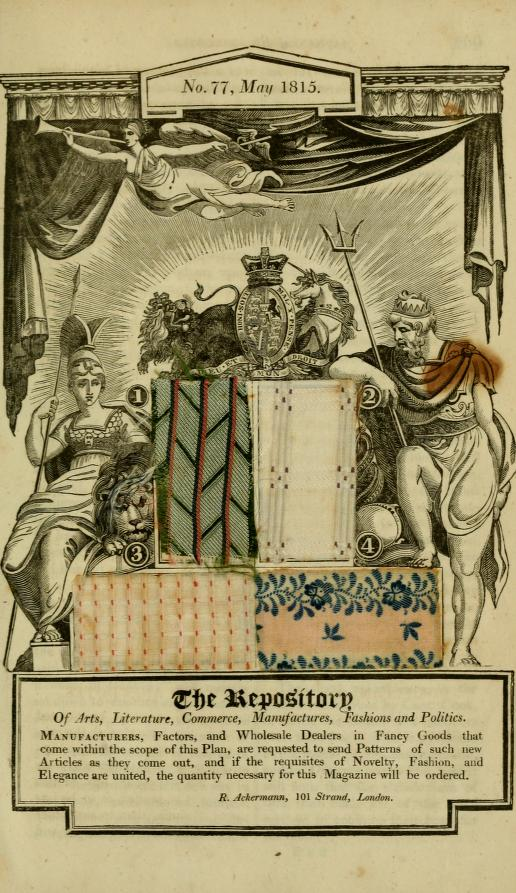 Allegorical Wood-Cut, with Patterns of British Manufactures. May, 1815. Ackermans's Repository of Arts, etc. Volume 13.