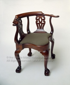 Corner chair. Mahogany with fabric-covered slip seat. John Goddard, 1763. RIHS 1990.36.1 RHix5136
