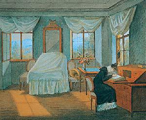 Georg Friedrich Kersting: Briefschreibende Dame im Biedermeier Interieur, 1817