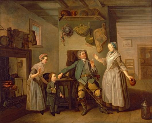 "David Garrick and Mary Bradshaw in David Garrick's ""The Farmer's Return"". Johann Zoffany, ca.1762. YCBA B1981.25.731"