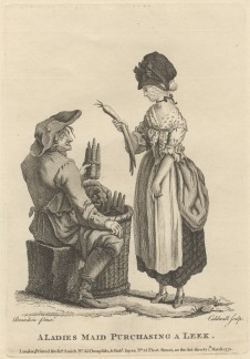 Print made by James Caldwall, A Ladies Maid Purchasing a Leek, 1772, Line engraving and etching Yale Center for British Art, Paul Mellon Collection. B1977.14.11105