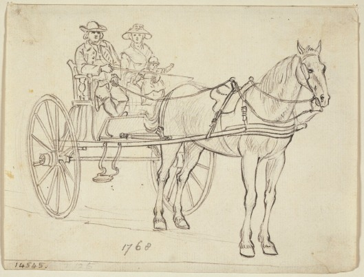 A carriage, with man and lady 1768. Watercolor by Paul Sandby. Royal Collection Trust/© Her Majesty Queen Elizabeth II 2014