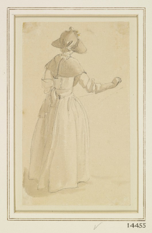 A girl in a sunhat, seen from behind, 1760-1770. Paul Sandby, Royal Collection Trust/© Her Majesty Queen Elizabeth II 2014