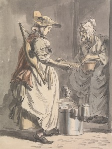 Paul Sandby RA, 1731–1809, British, London Cries: A Milkmaid, ca. 1759, Watercolor, pen and brown ink with graphite on medium, cream, slightly textured wove paper, Yale Center for British Art, Paul Mellon Collection