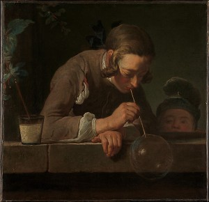 Jean Siméon Chardin (French, Paris 1699–1779 Paris) Soap Bubbles, ca. 1733–34 Oil on canvas; 24 x 24 7/8 in. (61 x 63.2 cm) The Metropolitan Museum of Art, New York, Wentworth Fund, 1949 (49.24)