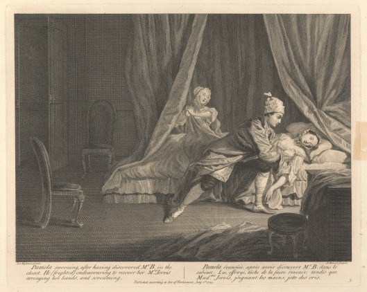 Print made by Guillaume Philippe Benoist, 1725–ca. 1770, French, Pamela Swooning, after having discovered Mr. B. in the closet, He (frighted) endeavouring to recover her, Mrs. Jervis wringing her hands, and screaming, 1745, Etching with stipple engraving on medium, slightly textured, cream laid paper, Yale Center for British Art, Yale Art Gallery Collection, Gift of the Library Associates.