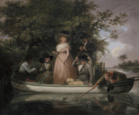 George Morland, 1763–1804, British, A Party Angling, 1789, Oil on canvas, Yale Center for British Art, Paul Mellon Collection B2001.2.22