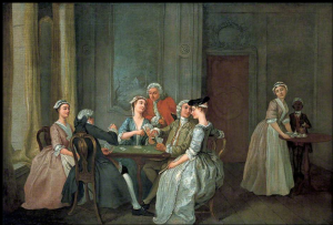 Playing at Quadrille. Oil on canvas by Francis Hayman. Birmingham Museums and Art Gallery