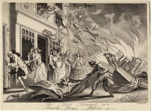The Tar's Triumph, or Bawdy-House Battery, print by Charles Mosley, 1749. British Museum 1868,0808.3896