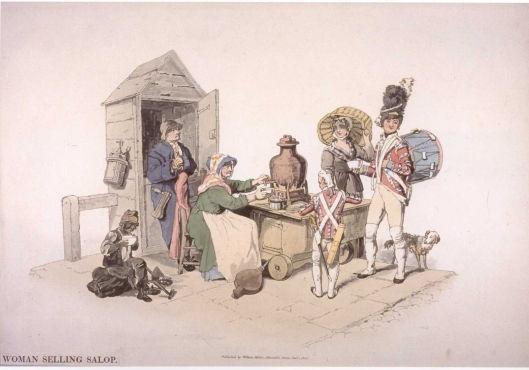 Woman Selling Salop. William Henry Pyne. The Costume of Great Britain. 1805.