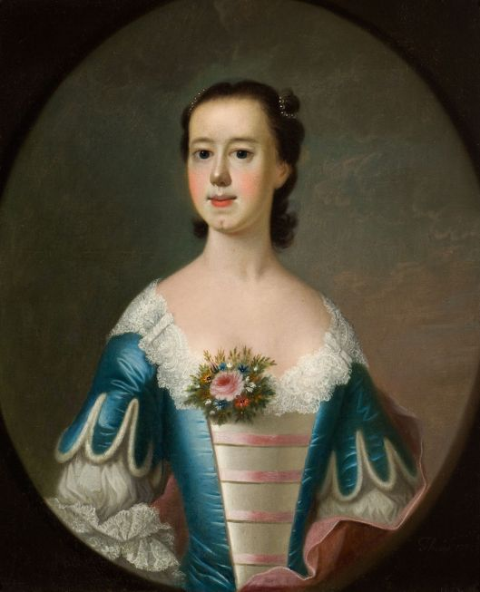 Mrs. Thomas Lynch, oil on canvas by Jeremiah Thëus, 1755. Reynolda House, 1972.2.1