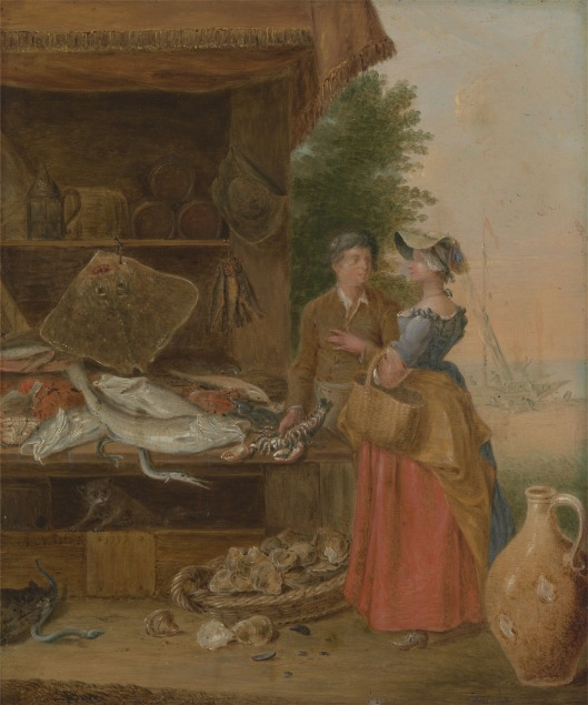Balthazar Nebot, active 1730–1762, Spanish, active in Britain (from 1729), Fishmonger's stall, 1737, Oil on copper, Yale Center for British Art, Paul Mellon Collection