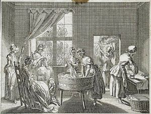 """Useful occupations: Women's work, sewing, spinning, washing, ironing etc,"" illustration from Basedow's 'Elementary Work', 1770. Etching by Daniel Chodowiecki — at LACMA"