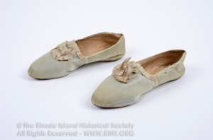 Pair of women's shoes, 1801. Gift of Fred Taggart, 1986.31.1a-b. RIHS