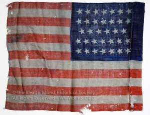 U.S. Flag, regimental. 14th Regiment Rhode Island Heavy Artillery. Belonged to Joseph Carey Whiting, Jr., 1st Lt., Co. B 14th R.I. Heavy Artillery. RIHS 1962.24.1