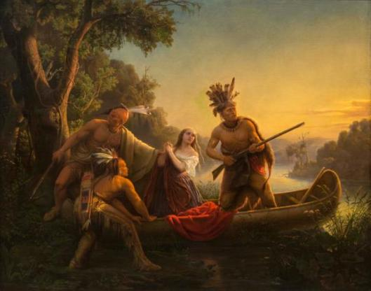 The Abduction of Daniel Boone's Daughter by the Indians. oil on canvas by Carl Wimar, 1853. Washington University Kemper Art Museum. Gift of John T. Davis, Jr., 1954 WU 4335
