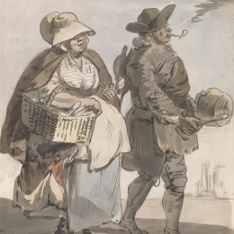 "Paul Sandby RA, 1731–1809, British, London Cries: ""Do You Want any Spoons..."", ca. 1759, Watercolor, pen and brown ink and graphite on medium, cream, slightly textured laid paper, Yale Center for British Art, Paul Mellon Collection"