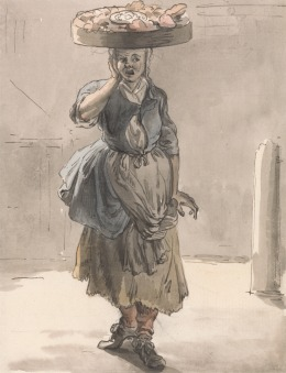 """Paul Sandby RA, 1731–1809, British, London Cries: A Girl with a Basket on Her Head (""""Lights for the Cats, Liver for the Dogs""""), ca. 1759, Watercolor, pen and brown ink, and graphite on medium, cream, slightly textured laid paper, Yale Center for British Art, Paul Mellon Collection"""