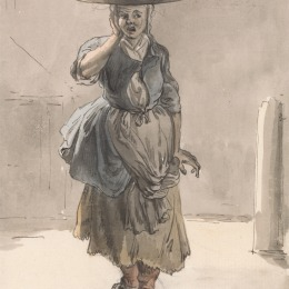 "Paul Sandby RA, 1731–1809, British, London Cries: A Girl with a Basket on Her Head (""Lights for the Cats, Liver for the Dogs""), ca. 1759, Watercolor, pen and brown ink, and graphite on medium, cream, slightly textured laid paper, Yale Center for British Art, Paul Mellon Collection"