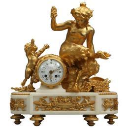French François Linke Louis XVI Style Gilt Bronze and White Marble Clock