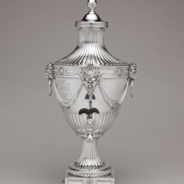 Tea urn. Silver, by John Carter II. 1773-1774. Metropolitan Museum of Art, 11.28a–f
