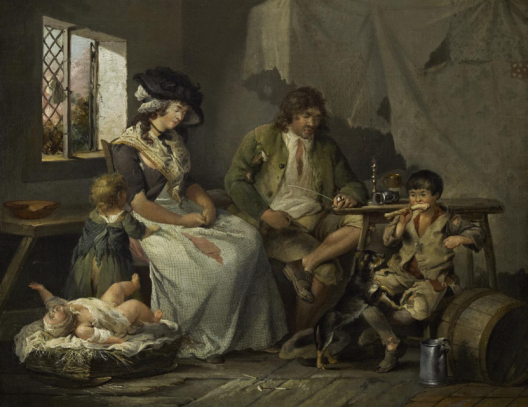 painting of a shabbyily dressed family in a decaying room