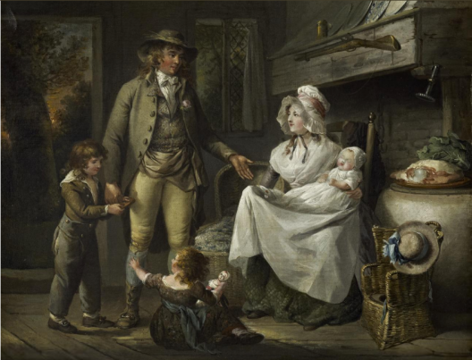 painting of a well dressed family in a cozy farm house kitchen