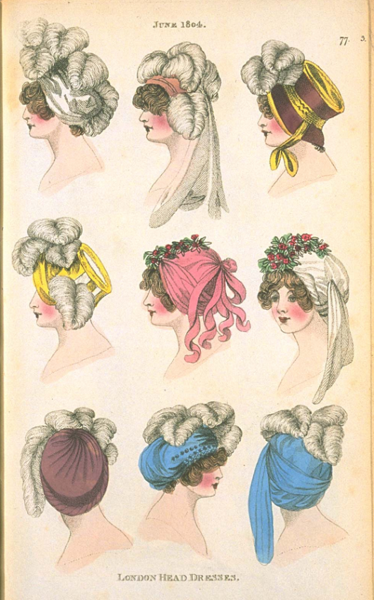 ladies heads with various wraps and feathers